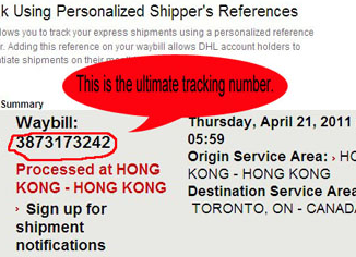 DHL Global Mail Tracking Number Example